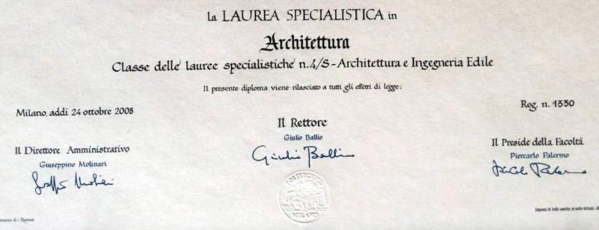 laurea specialistica architettura